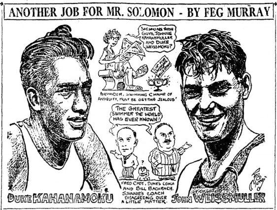 DUKE KAHANAMOKU & JOHNY WEISSMULLER - CARTOON, Feg-Murray_1924